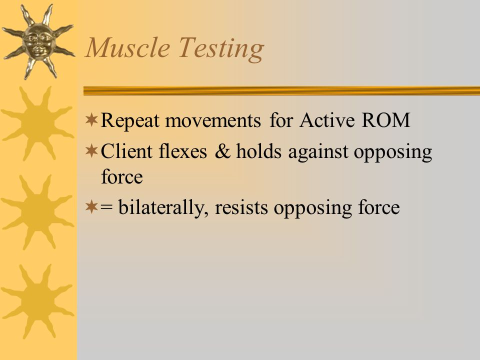 Muscle Testing Repeat movements for Active ROM