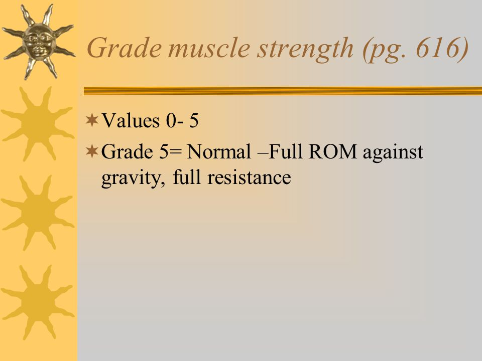 Grade muscle strength (pg. 616)