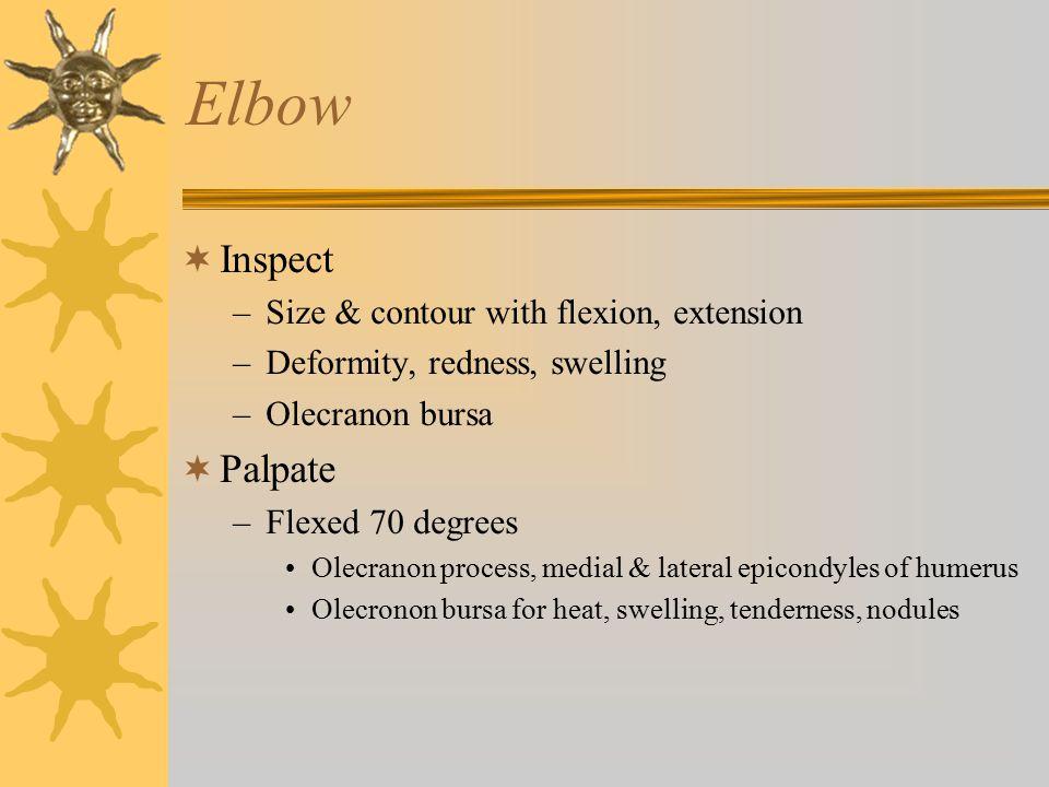 Elbow Inspect Palpate Size & contour with flexion, extension