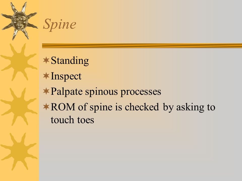 Spine Standing Inspect Palpate spinous processes