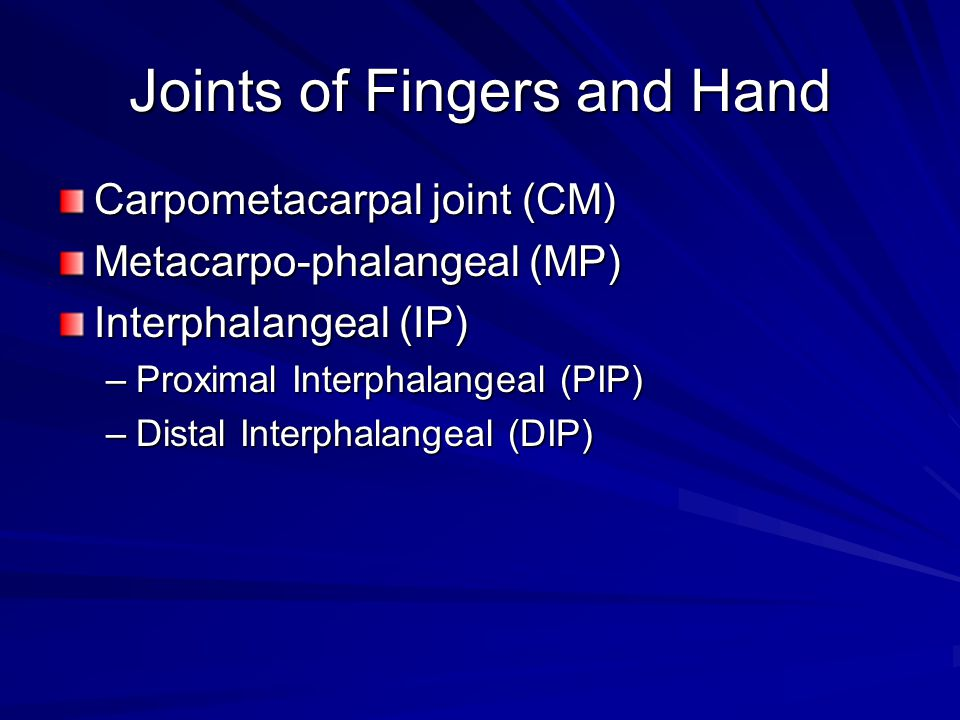 Joints of Fingers and Hand