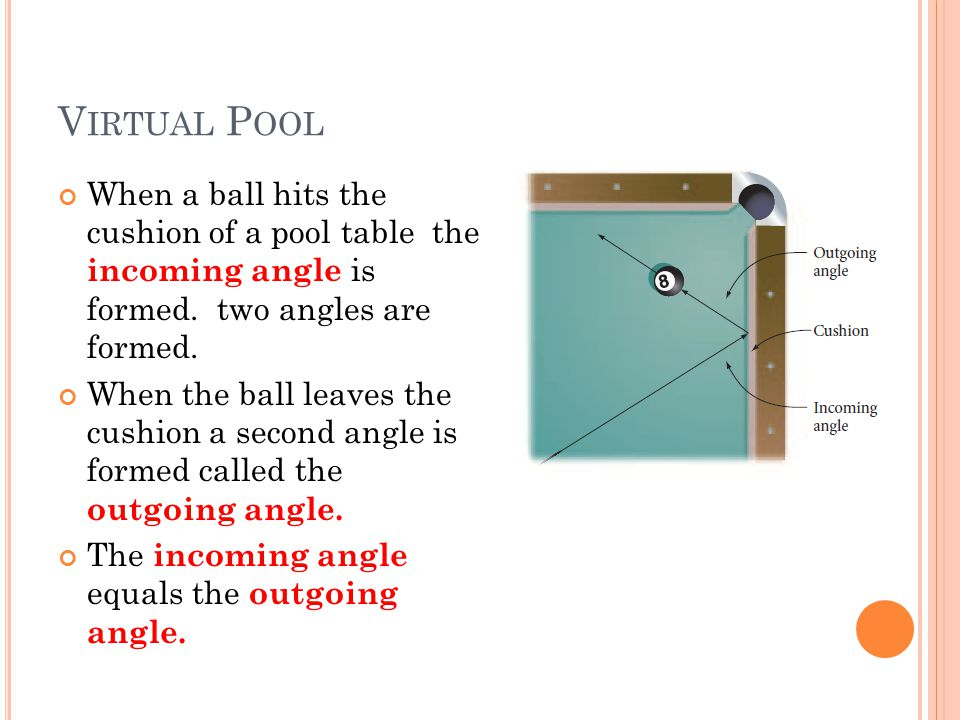 Virtual Pool When a ball hits the cushion of a pool table the incoming angle is formed. two angles are formed.