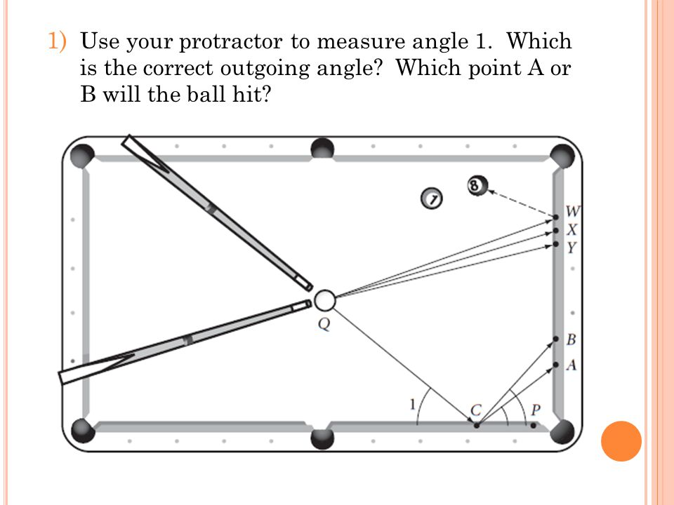 Use your protractor to measure angle 1