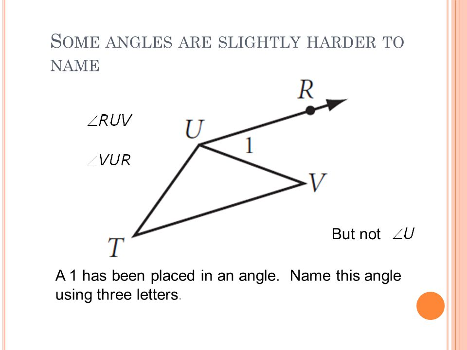 Some angles are slightly harder to name