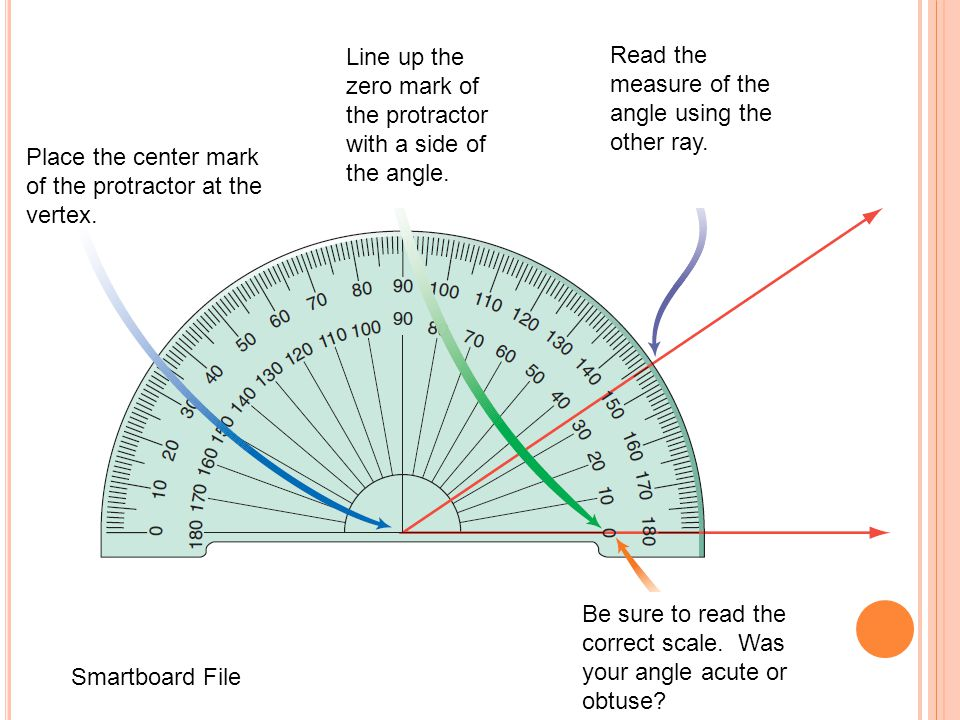 Line up the zero mark of the protractor with a side of the angle.