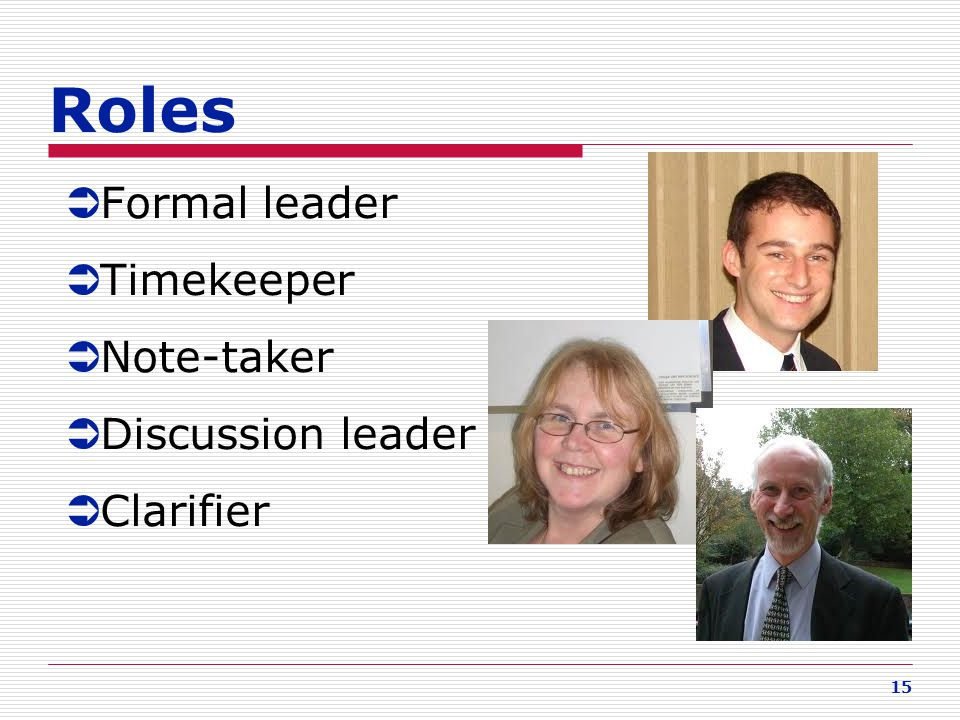 Roles Formal leader Timekeeper Note-taker Discussion leader Clarifier