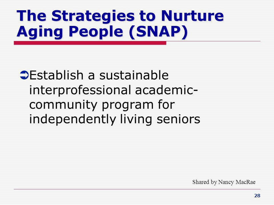 The Strategies to Nurture Aging People (SNAP)