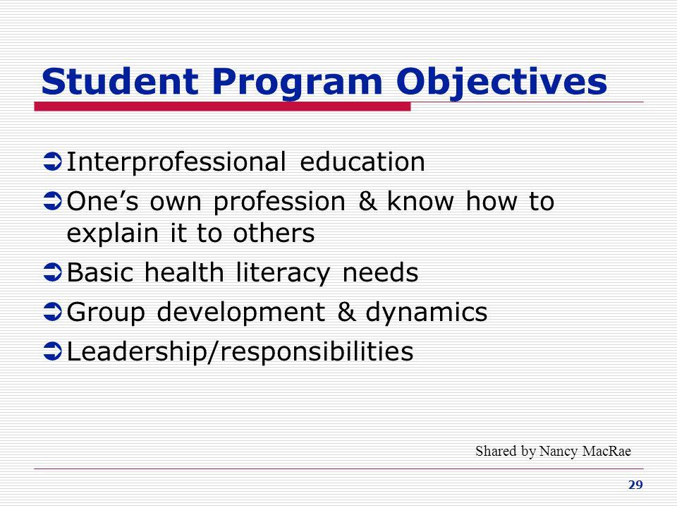 Student Program Objectives