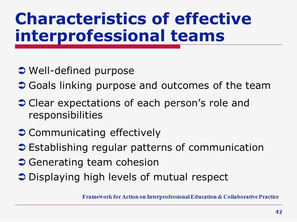 Characteristics of effective interprofessional teams