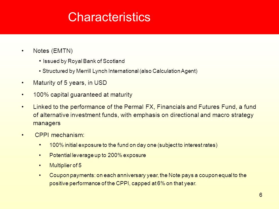 Characteristics Notes (EMTN) Issued by Royal Bank of Scotland