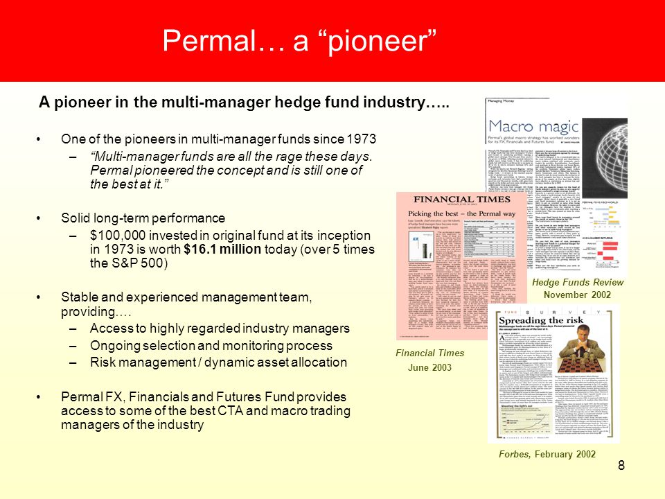 Permal… a pioneer A pioneer in the multi-manager hedge fund industry….. One of the pioneers in multi-manager funds since 1973.