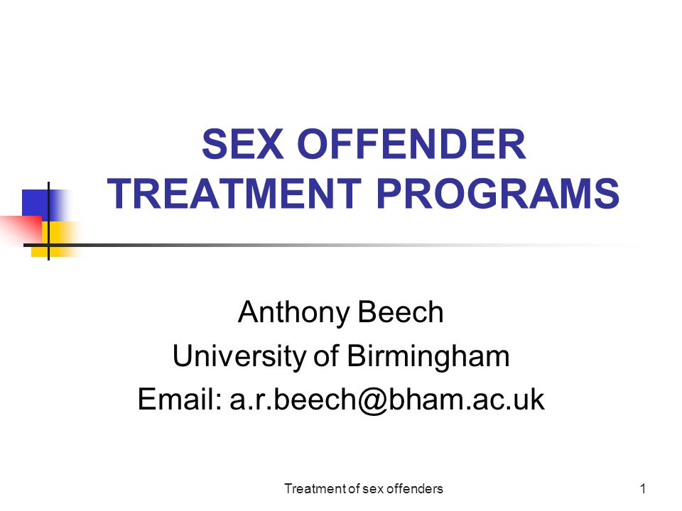 SEX OFFENDER TREATMENT PROGRAMS