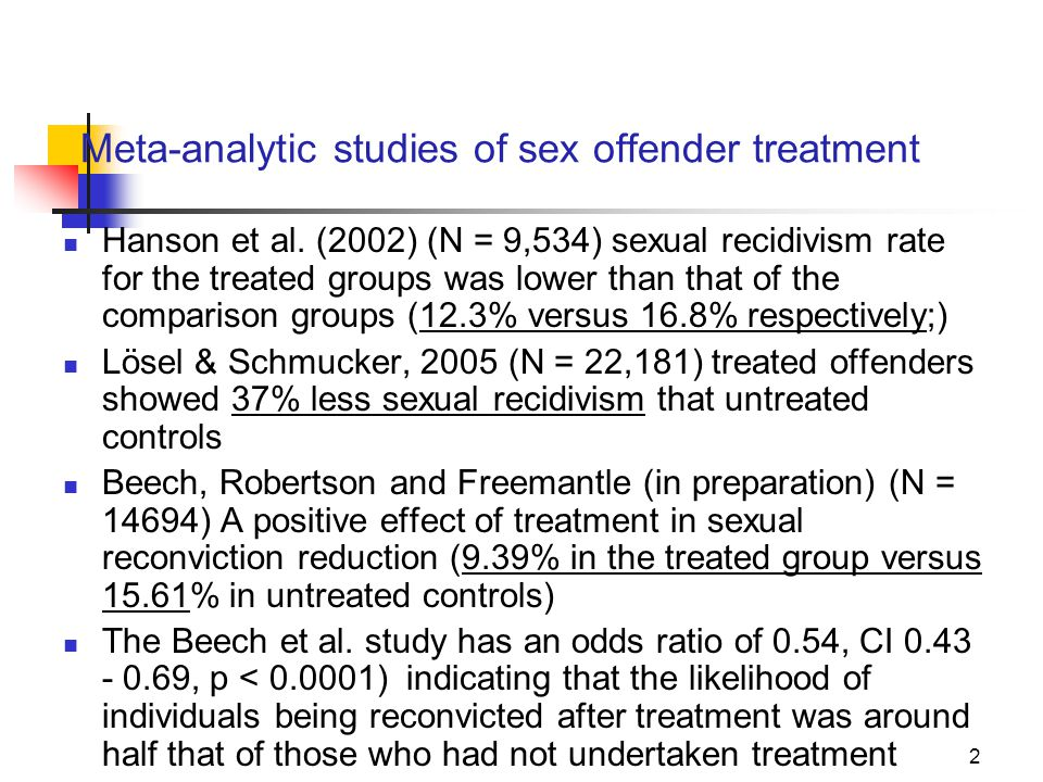 Meta-analytic studies of sex offender treatment