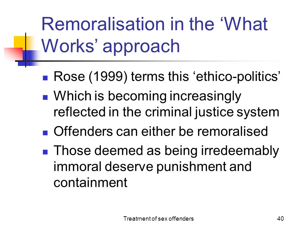 Remoralisation in the 'What Works' approach