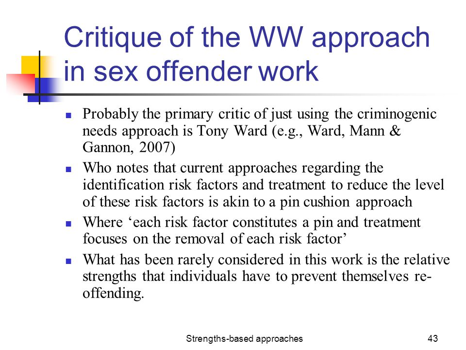 Critique of the WW approach in sex offender work