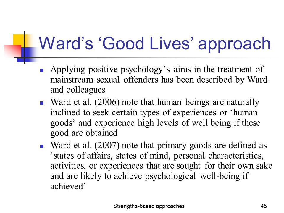 Ward's 'Good Lives' approach