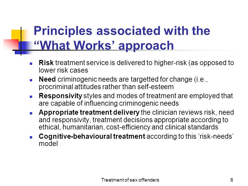Principles associated with the What Works' approach