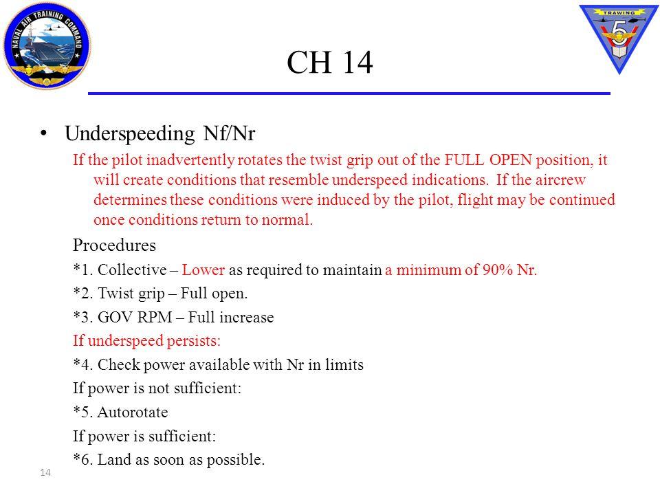 CH 14 Underspeeding Nf/Nr Procedures