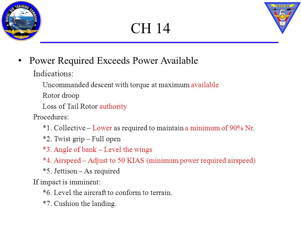 CH 14 Power Required Exceeds Power Available Indications: