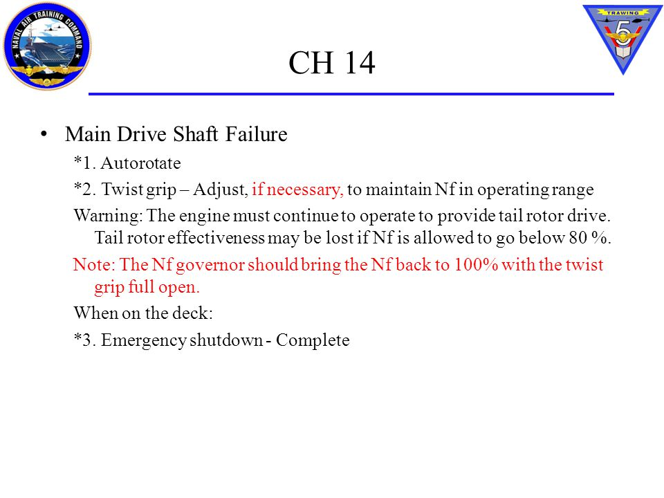 CH 14 Main Drive Shaft Failure *1. Autorotate