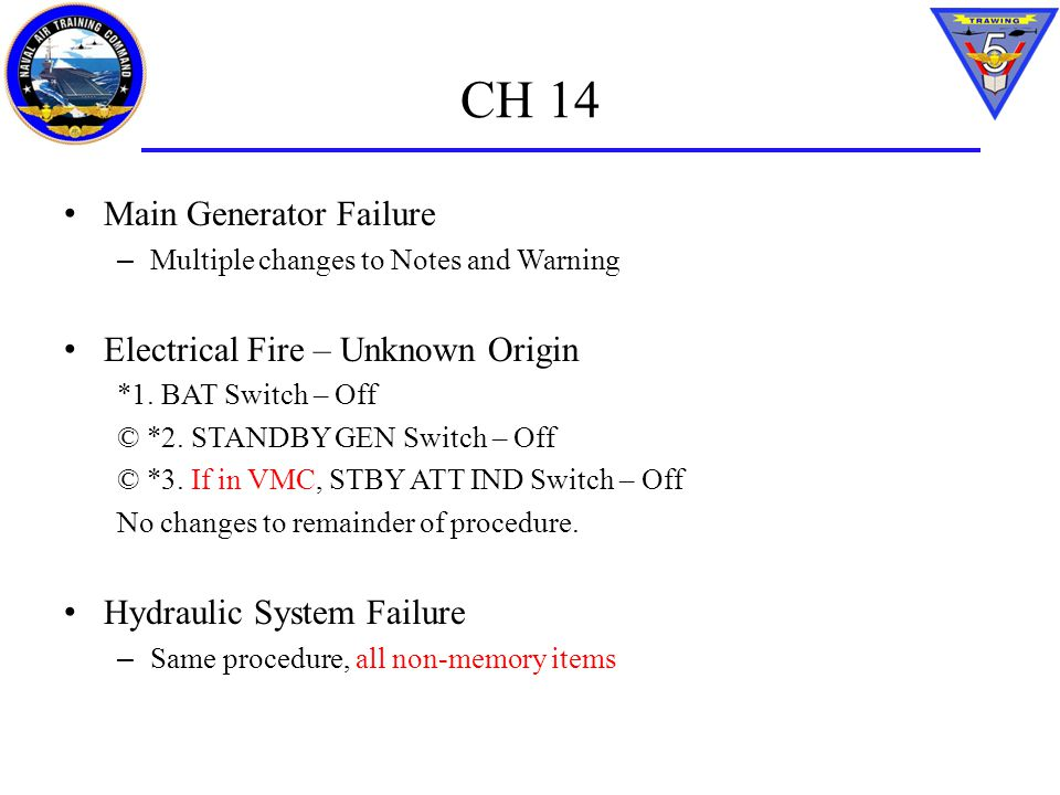 CH 14 Main Generator Failure Electrical Fire – Unknown Origin