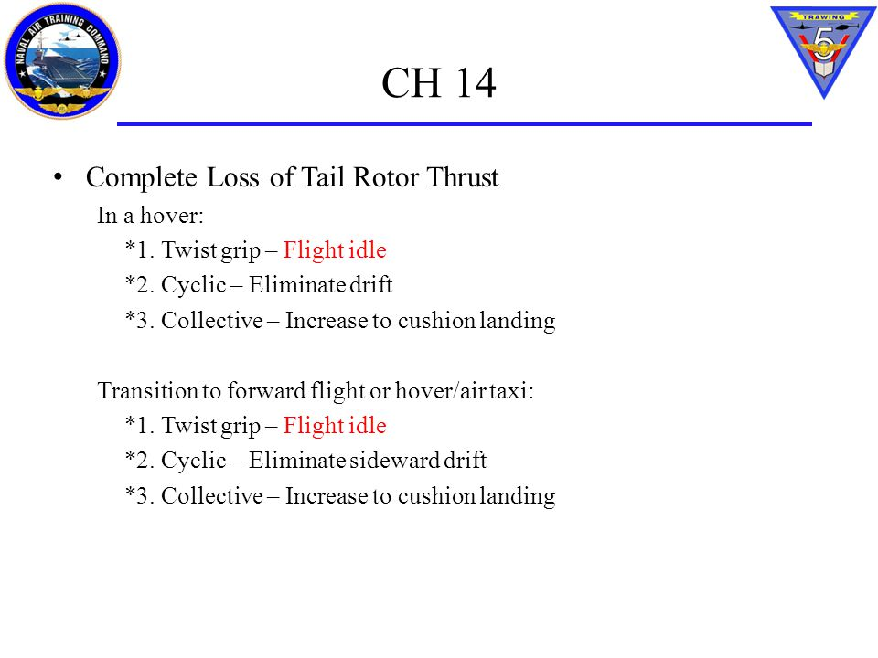 CH 14 Complete Loss of Tail Rotor Thrust In a hover: