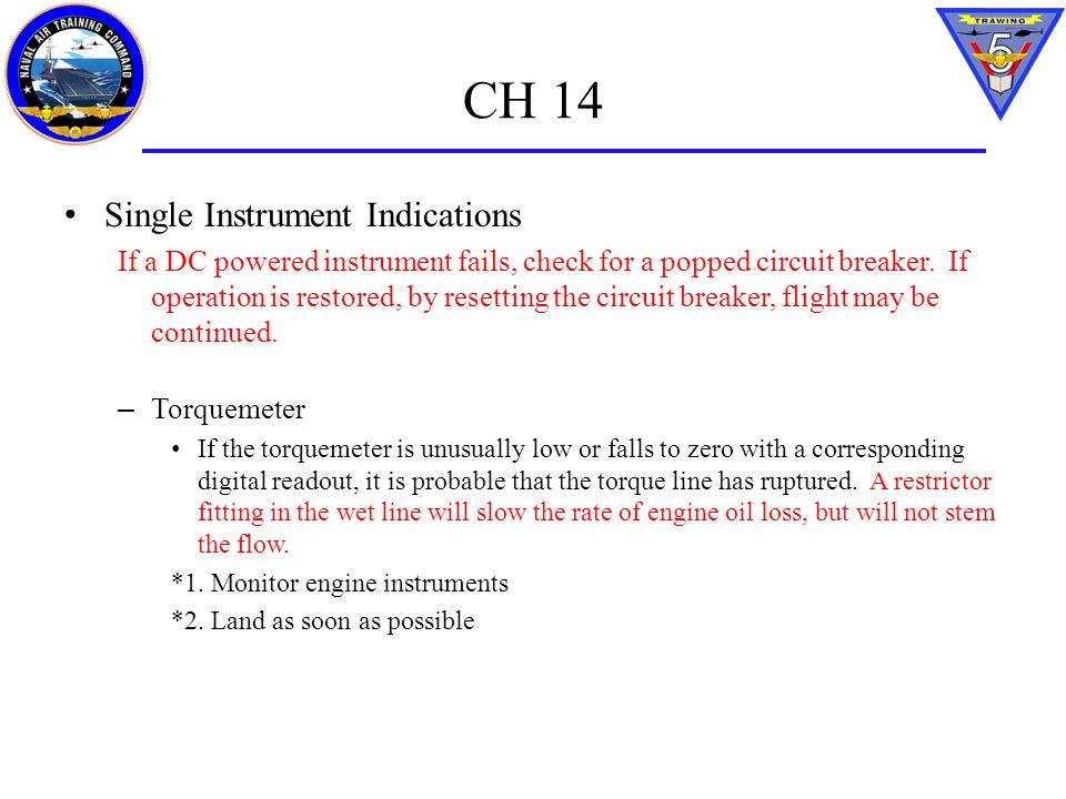 CH 14 Single Instrument Indications