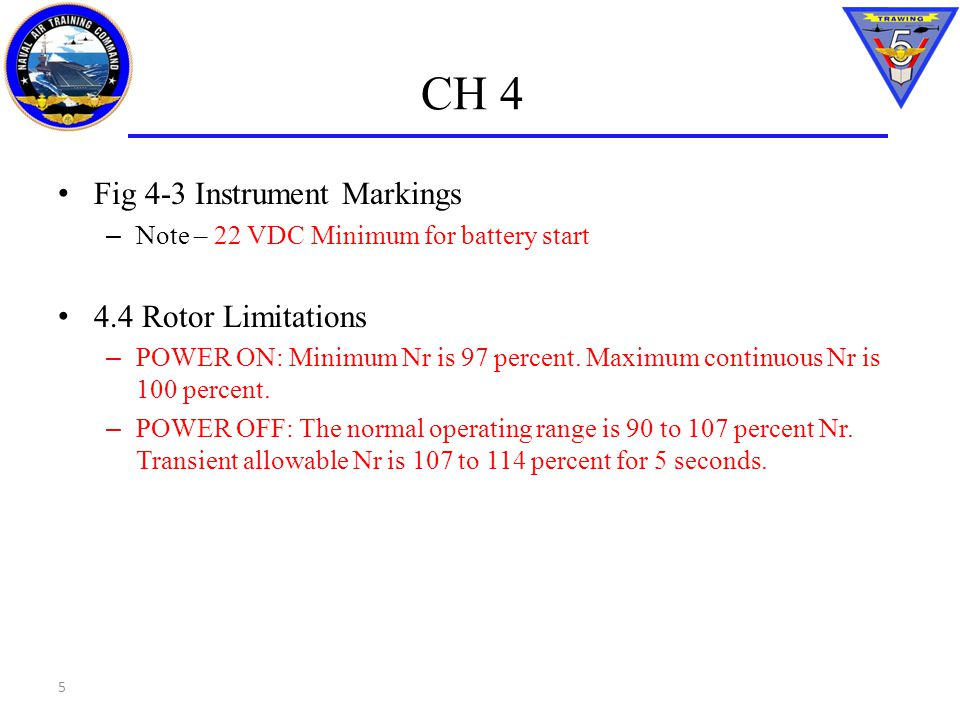 CH 4 Fig 4-3 Instrument Markings 4.4 Rotor Limitations