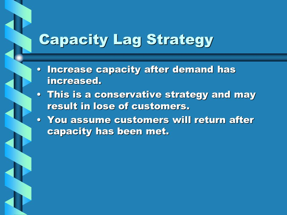 Capacity Lag Strategy Increase capacity after demand has increased.