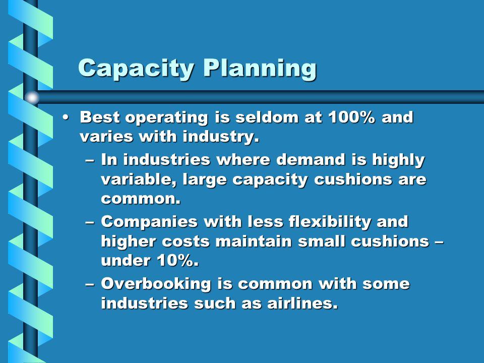 Capacity Planning Best operating is seldom at 100% and varies with industry.