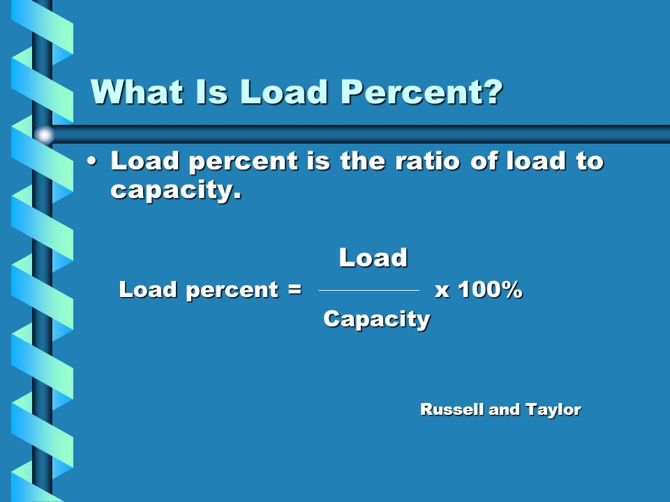 What Is Load Percent Load percent is the ratio of load to capacity.