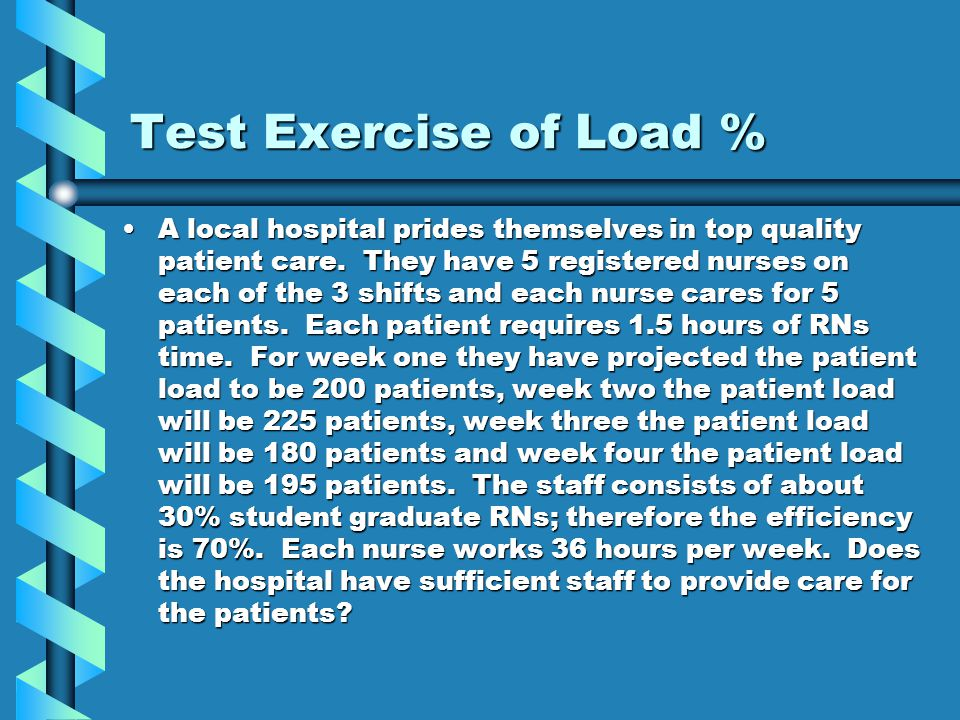 Test Exercise of Load %