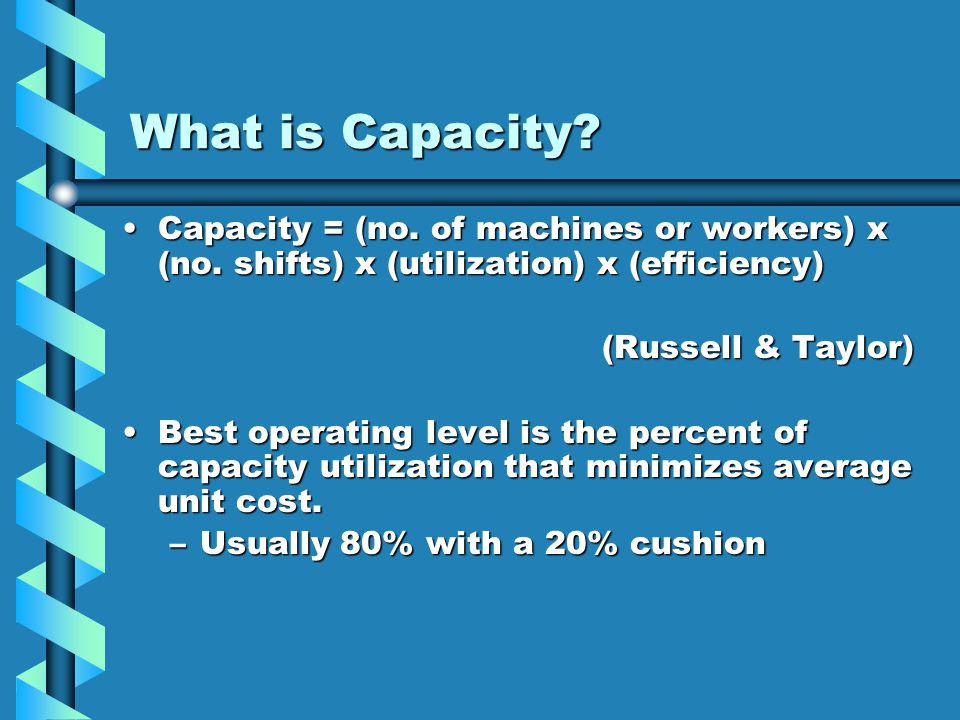 What is Capacity Capacity = (no. of machines or workers) x (no. shifts) x (utilization) x (efficiency)