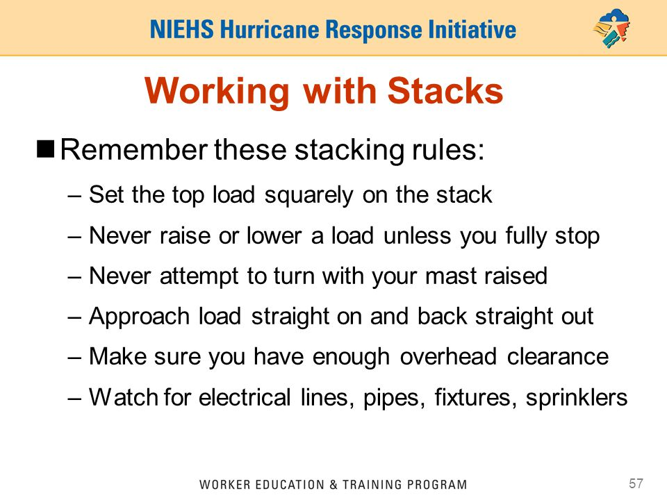 Working with Stacks Remember these stacking rules: