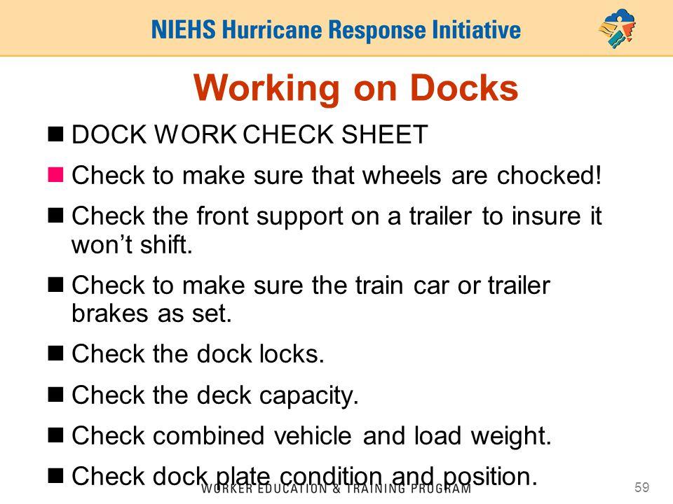 Working on Docks DOCK WORK CHECK SHEET