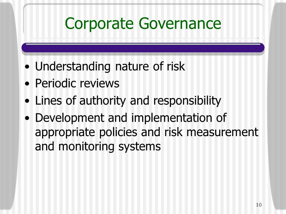 Corporate Governance Understanding nature of risk Periodic reviews