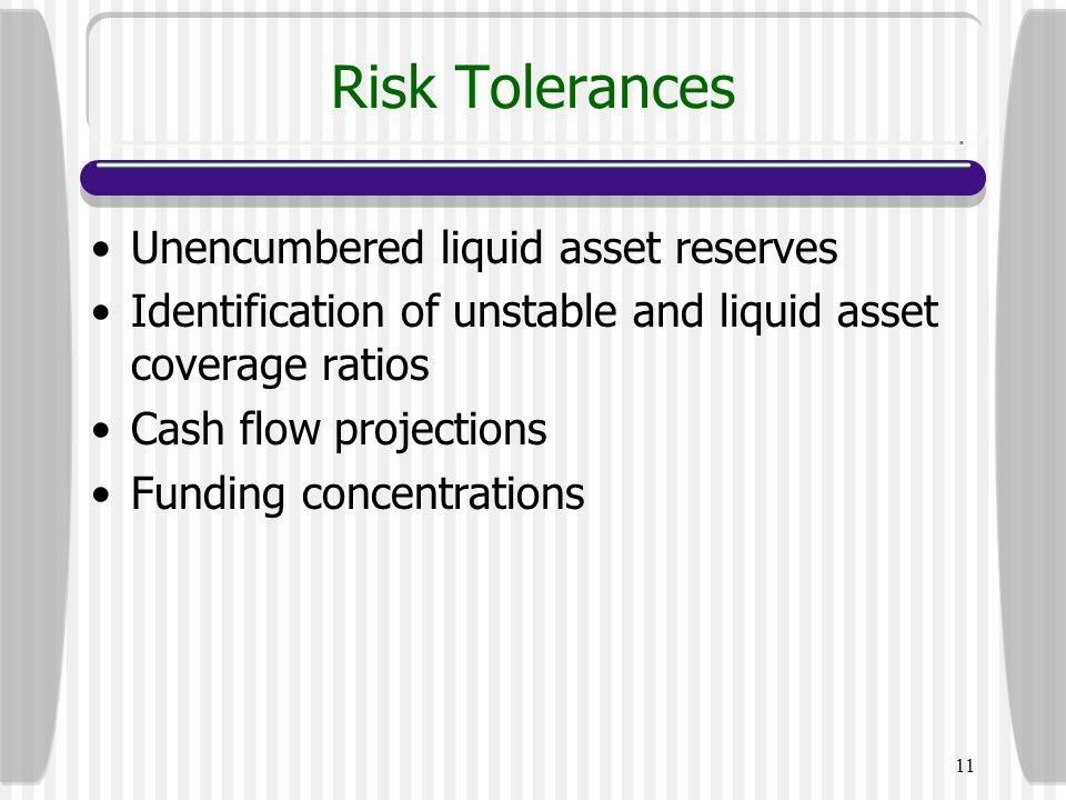Risk Tolerances Unencumbered liquid asset reserves