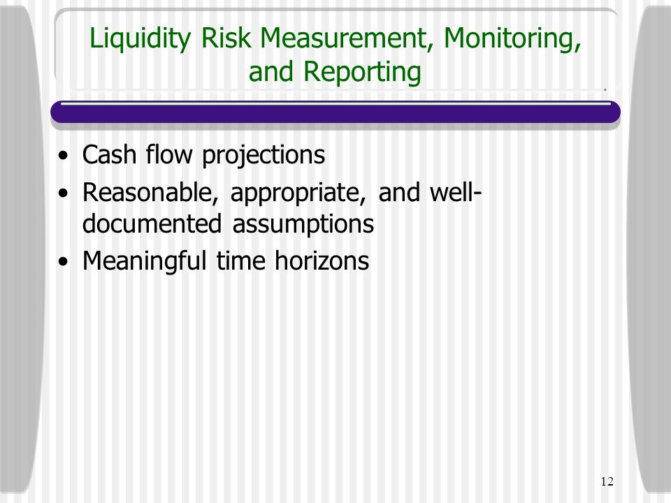Liquidity Risk Measurement, Monitoring, and Reporting