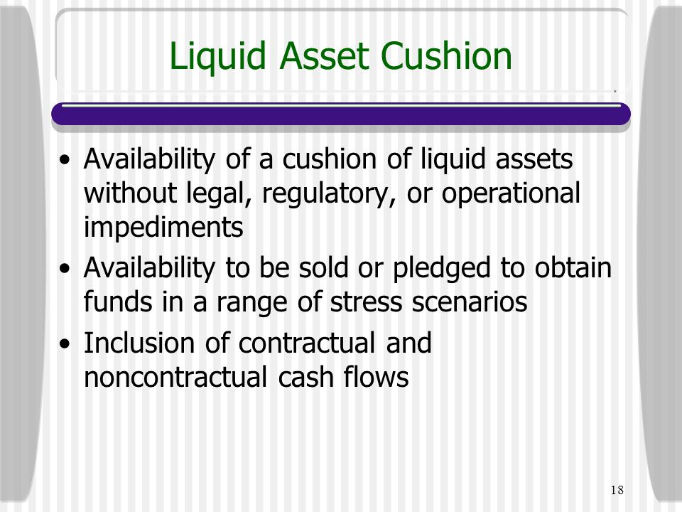 Liquid Asset Cushion Availability of a cushion of liquid assets without legal, regulatory, or operational impediments.