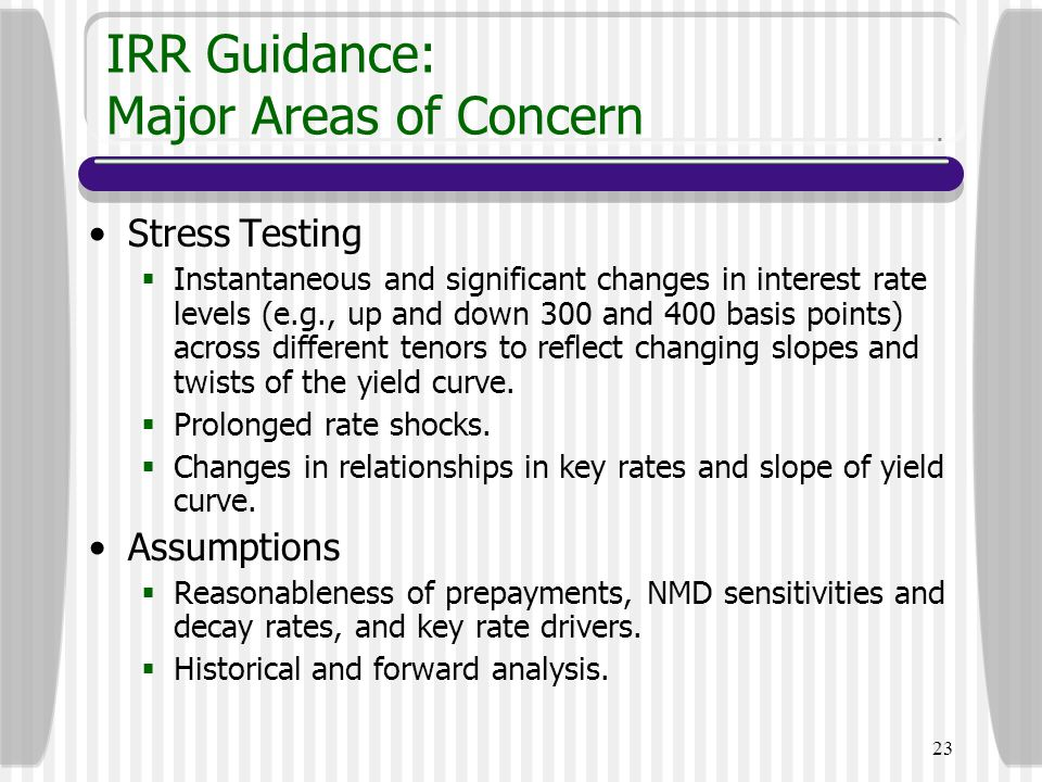 IRR Guidance: Major Areas of Concern