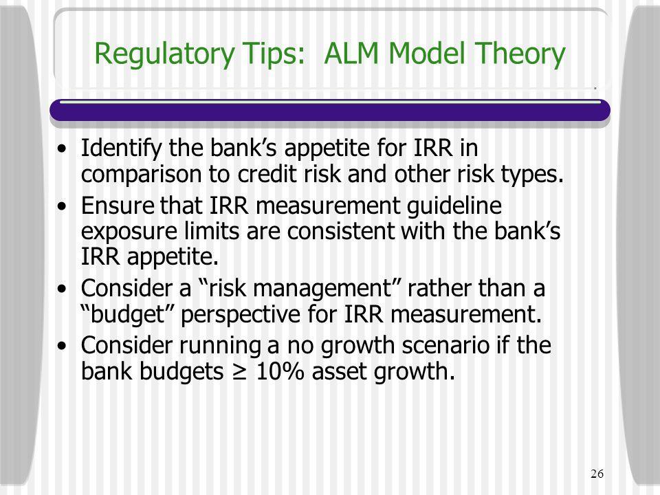 Regulatory Tips: ALM Model Theory