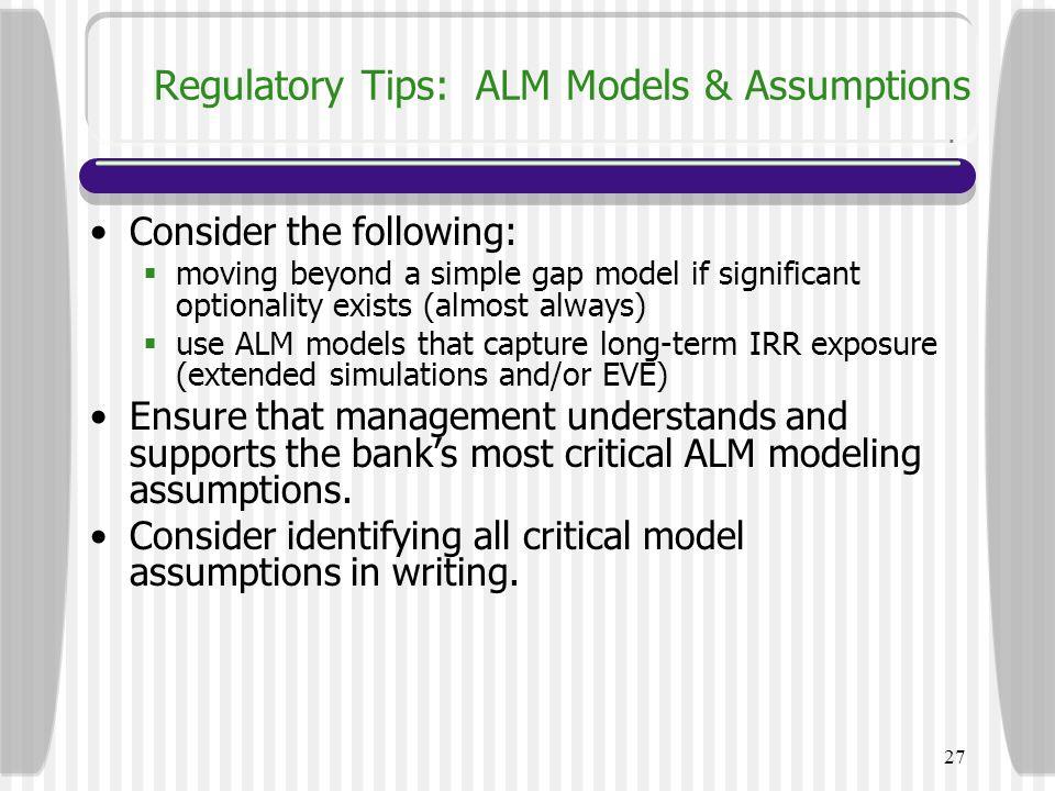 Regulatory Tips: ALM Models & Assumptions