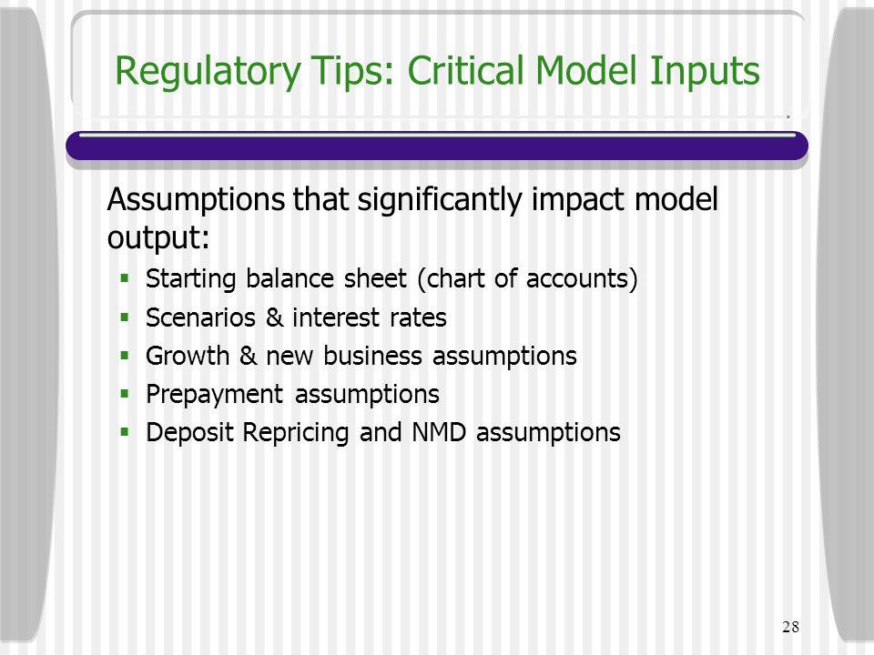 Regulatory Tips: Critical Model Inputs