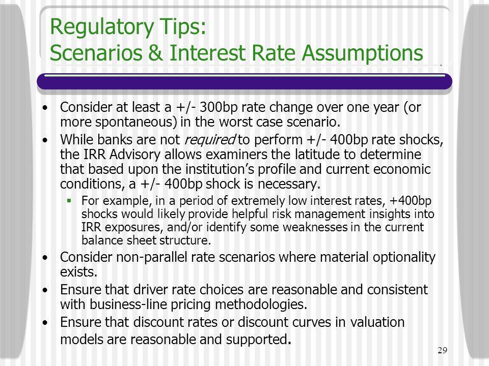 Regulatory Tips: Scenarios & Interest Rate Assumptions