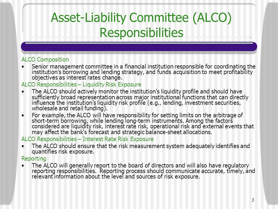 Asset-Liability Committee (ALCO) Responsibilities