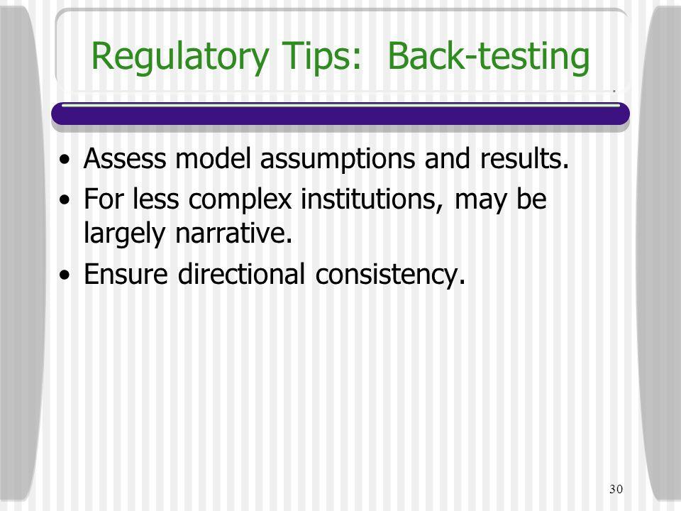 Regulatory Tips: Back-testing
