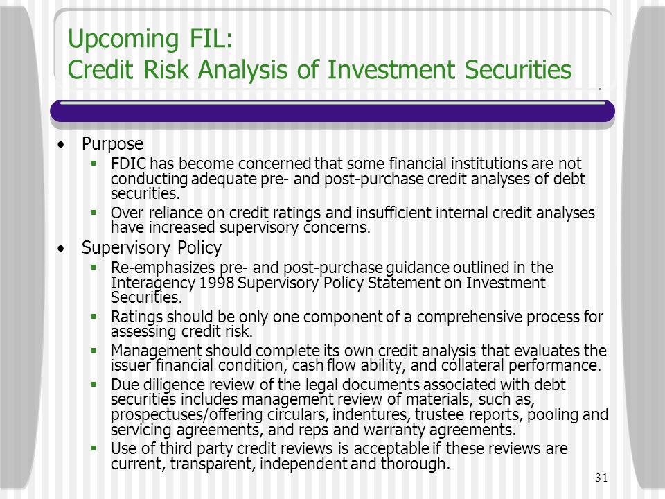 Upcoming FIL: Credit Risk Analysis of Investment Securities