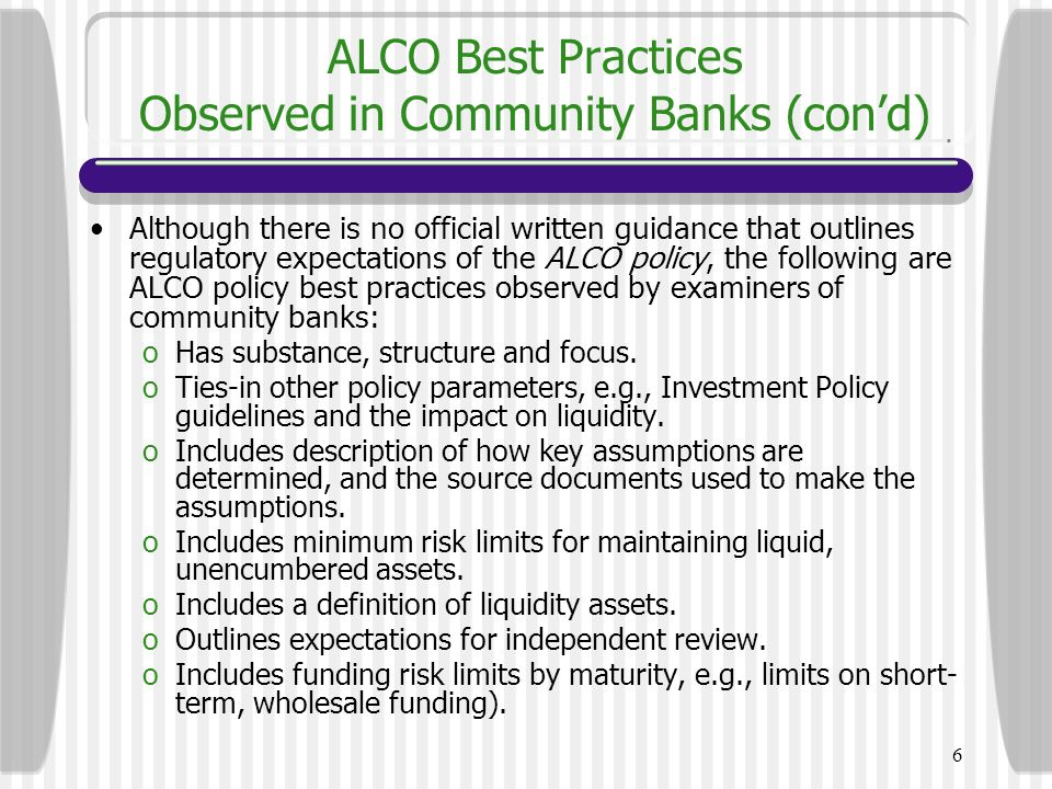 ALCO Best Practices Observed in Community Banks (con'd)