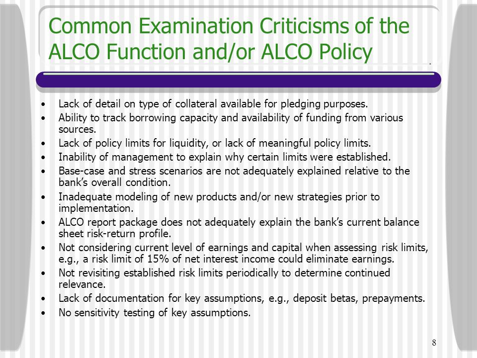 Common Examination Criticisms of the ALCO Function and/or ALCO Policy