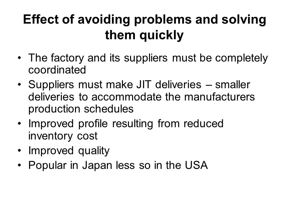 Effect of avoiding problems and solving them quickly
